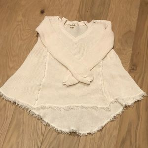 Cream high low sweater
